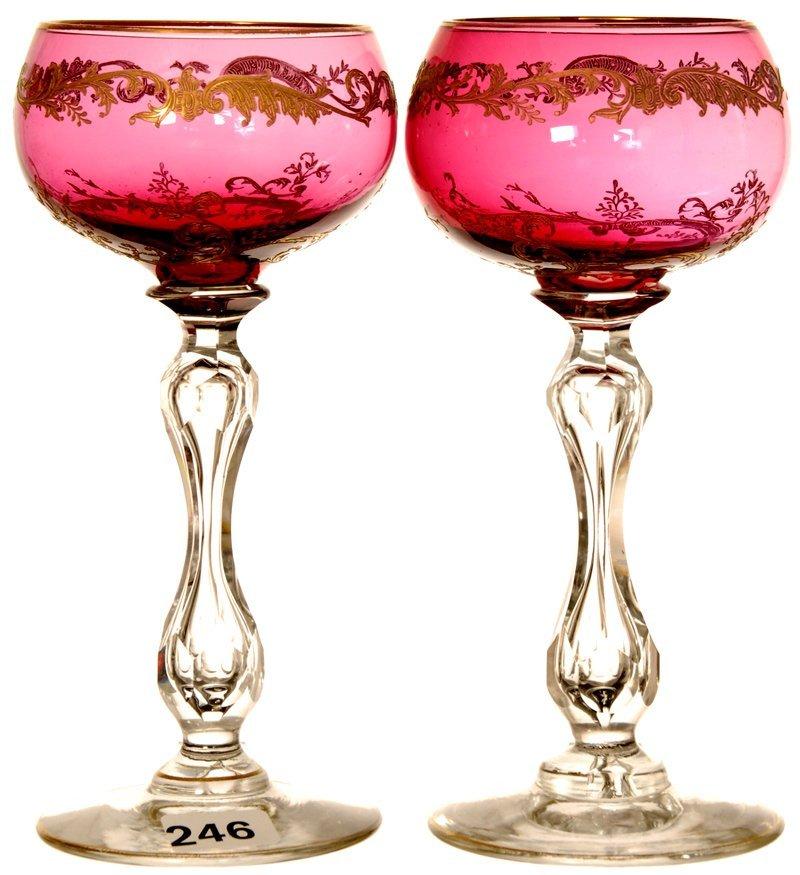 "PAIR 6 3/4"" CRANBERRY RHINE WINE GLASSES"