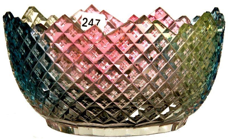 "UNUSUAL 4"" X 7 1/4"" AMERICAN BRILLIANT CUT GLASS RAINBO"