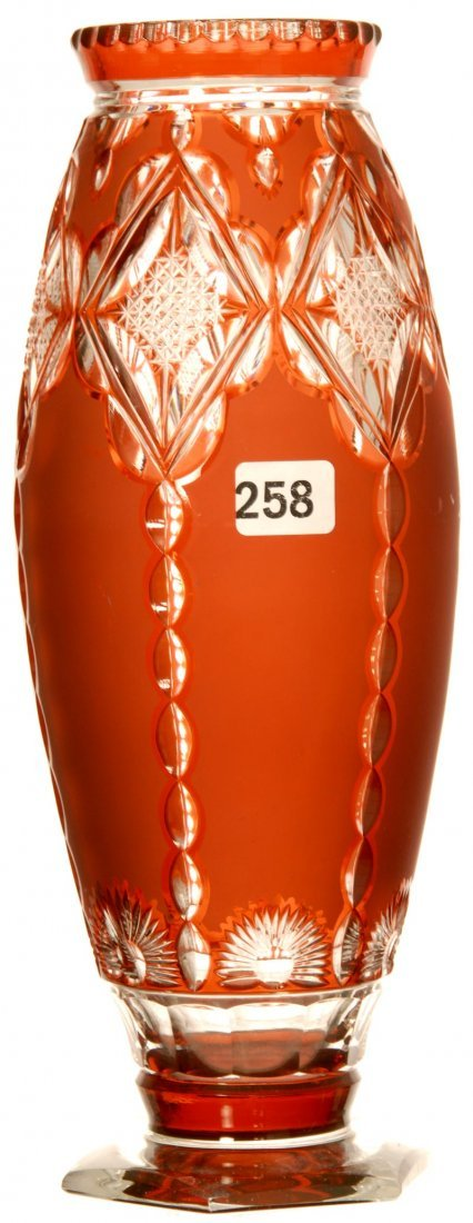 "10 1/4"" DEEP APRICOT CUT TO CLEAR CUT GLASS VASE"