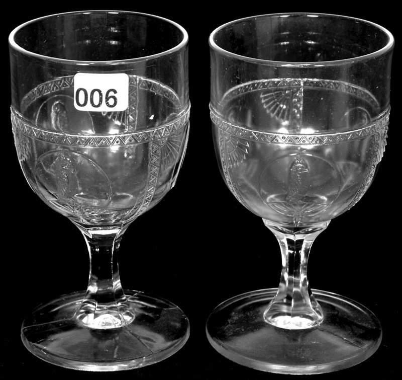 PAIR 5 1/2' FLINT GLASS WATER GOBLETS