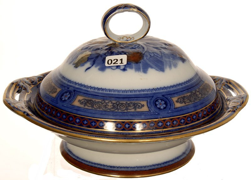 "7"" X 11"" DOULTON BURSLEM FLOW BLUE ROUND COVERED TUREEN"