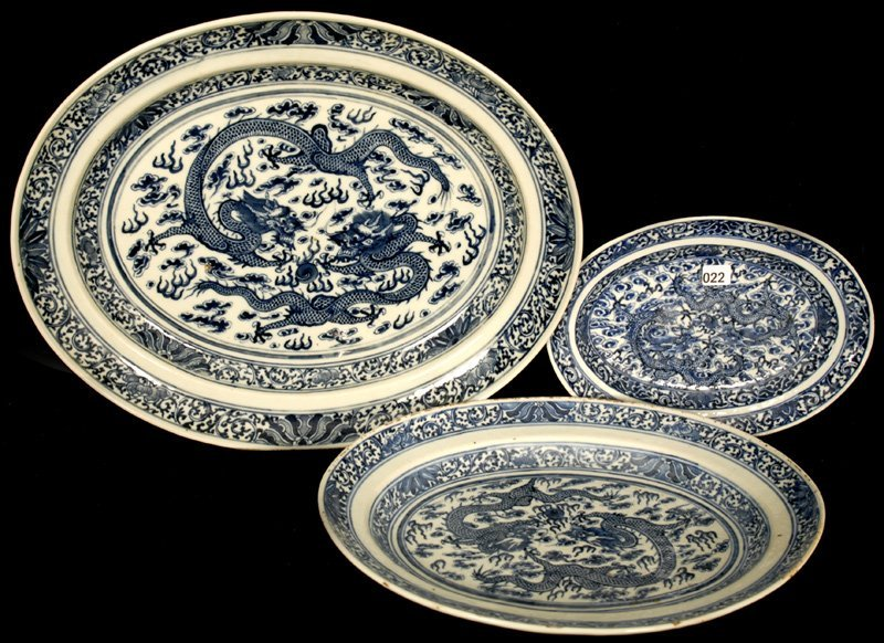 (3) CHINESE BLUE AND WHITE PORCELAIN TRAYS