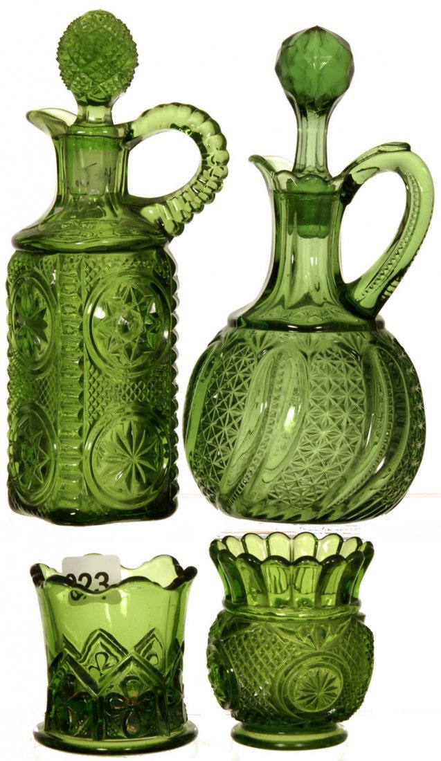 (4) GREEN PATTERN GLASS ITEMS