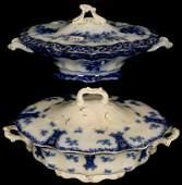 (2) FLOW BLUE COVERED VEGETABLE BOWLS