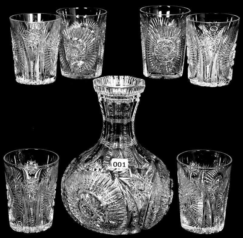 """8 1/4"""" AMERICAN BRILLIANT CUT GLASS WATER CARAFE WITH"""