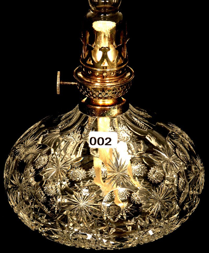 """7"""" AMERICAN BRILLIANT CUT GLASS KEROSENE LAMP"""