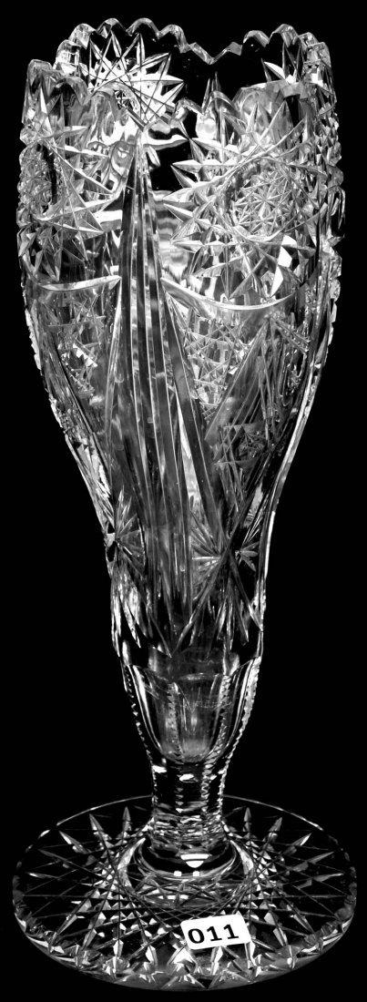 """12 1/4"""" AMERICAN BRILLIANT CUT GLASS PEDESTAL TULIP"""