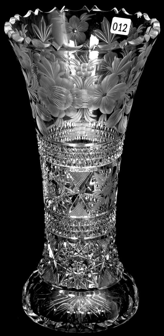 "12"" AMERICAN BRILLIANT CUT GLASS VASE"