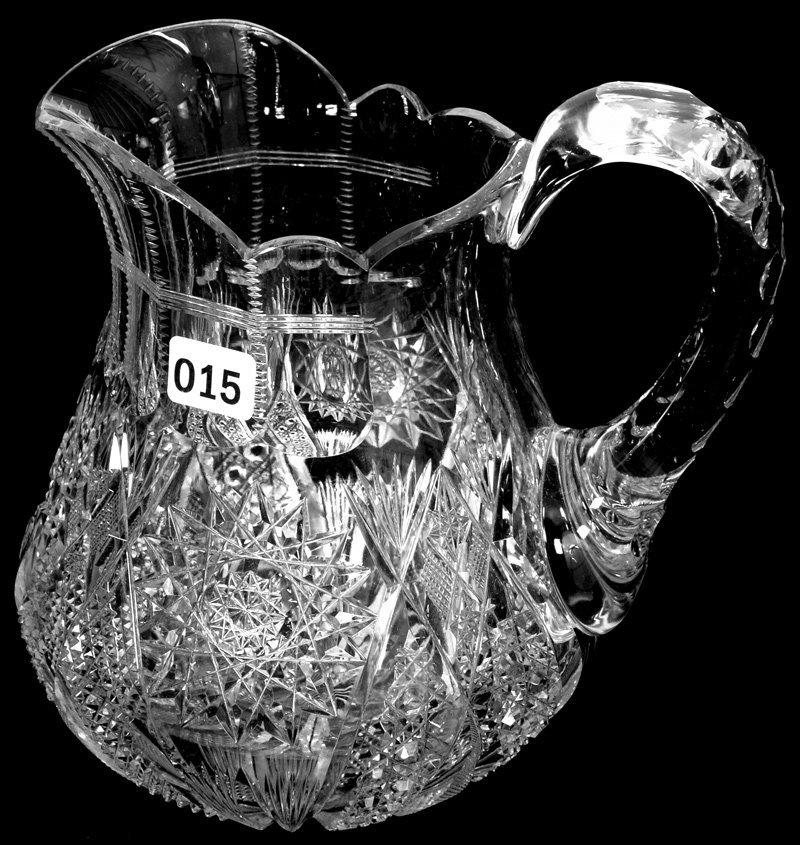 "7 1/4"" AMERICAN BRILLIANT CUT GLASS BULBOUS WATER"