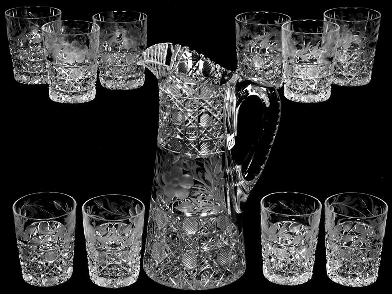 """11 1/4"""" AMERICAN BRILLIANT CUT GLASS WATER PITCHER AND"""