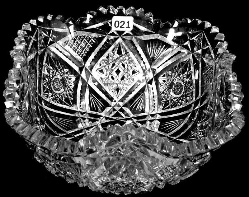 """4"""" X 8 1/2"""" AMERICAN BRILLIANT CUT GLASS SQUARE BOWL"""