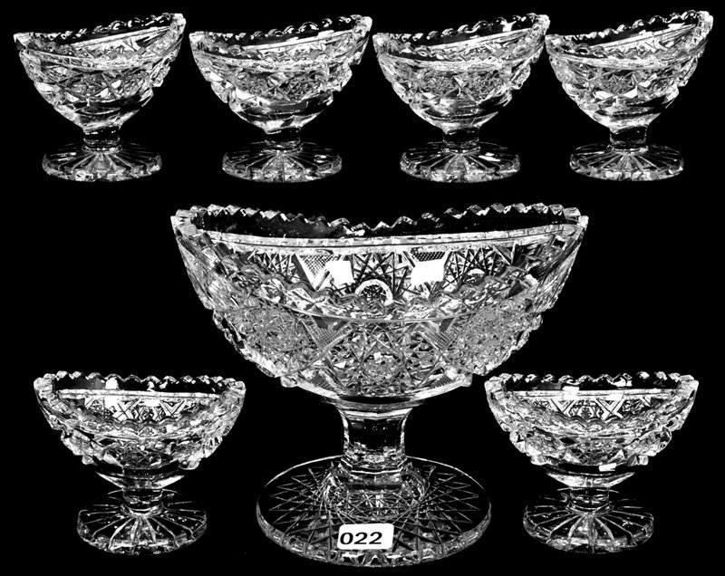 SEVEN PIECE AMERICAN BRILLIANT CUT GLASS PEDESTAL NUT