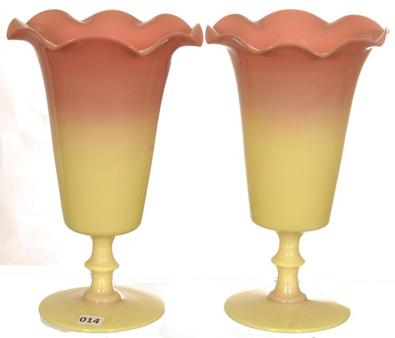 "PAIR 10 1/4"" MT. WASHINGTON GLOSSY BURMESE PEDESTAL"