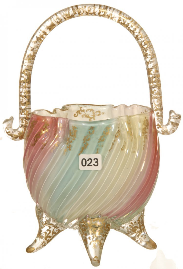 "9 3/4"" CASED ART GLASS RAINBOW OVAL FOOTED BASKET"