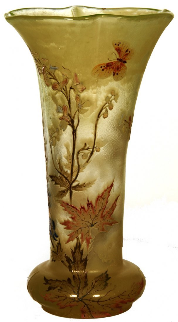 """12 1/2"""" SIGNED GALLE FRENCH CAMEO ART GLASS VASE"""