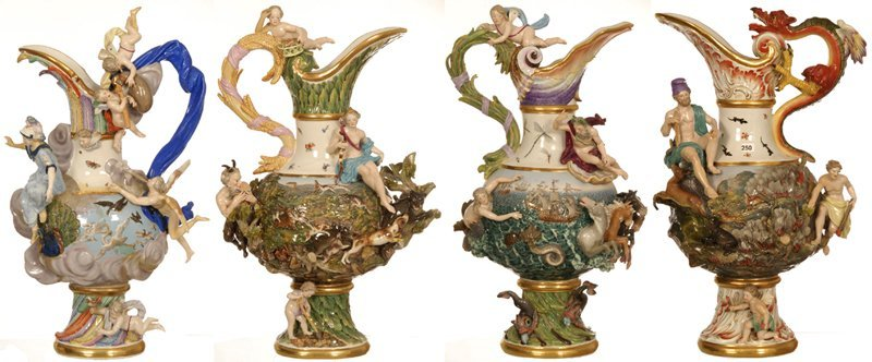 MEISSEN ELEMENTAL SERIES - MUSEUM QUALITY SET OF (4)