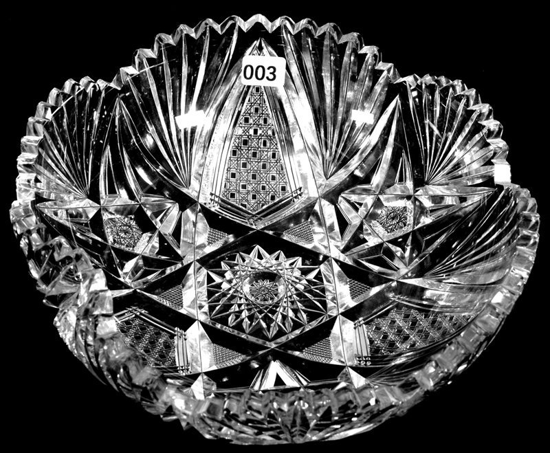 "3"" X 9 3/4"" AMERICAN BRILLIANT CUT GLASS HANDGRIP BOWL"