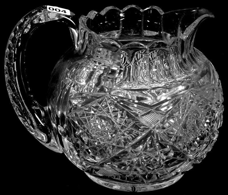 "7"" SIGNED HAWKES AMERICAN BRILLIANT CUT GLASS BALL"
