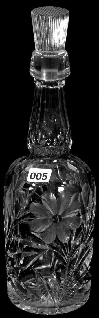 "11 3/4"" AMERICAN BRILLIANT CUT GLASS WHISKEY BOTTLE"
