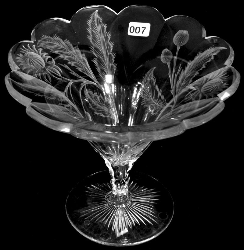 "7 1/2"" X 8 3/4"" AMERICAN BRILLIANT CUT GLASS TAZZA VASE"