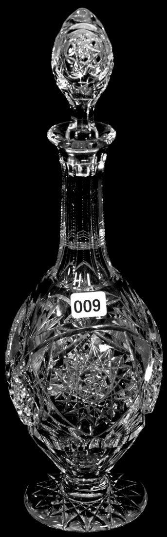 "13 1/2"" AMERICAN BRILLIANT CUT GLASS PEDESTAL DECANTER"
