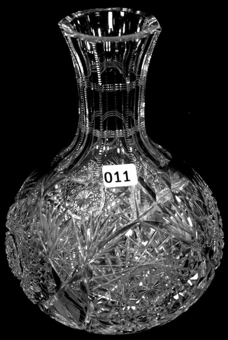 "8 1/4"" AMERICAN BRILLIANT CUT GLASS WATER CARAFE"