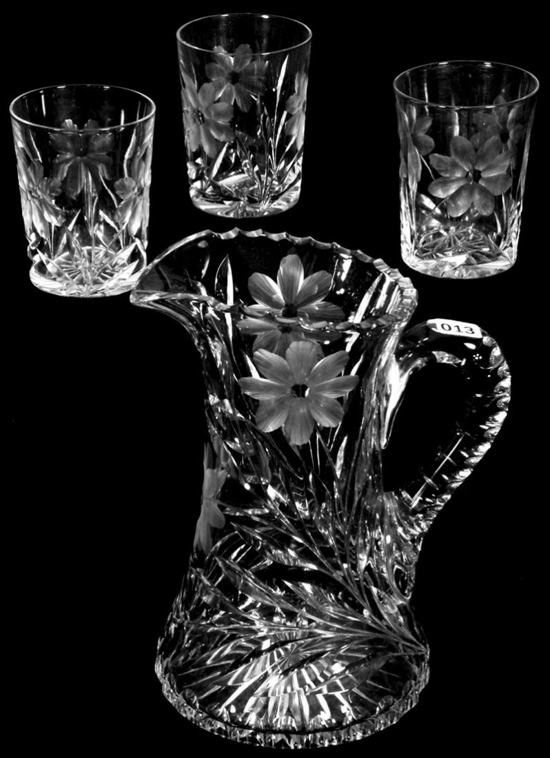 """9 1/4"""" AMERICAN BRILLIANT CUT GLASS WATER PITCHER WITH"""