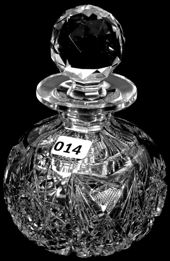 "6"" AMERICAN BRILLIANT CUT GLASS BALL SHAPED COLOGNE"