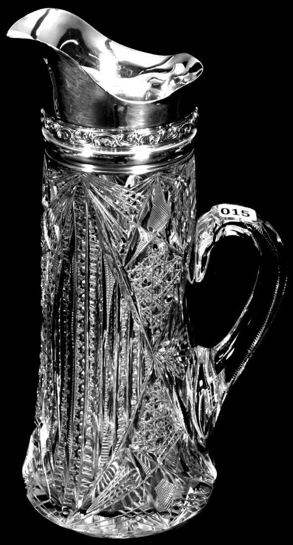 """12"""" AMERICAN BRILLIANT CUT GLASS TALL PITCHER WITH"""