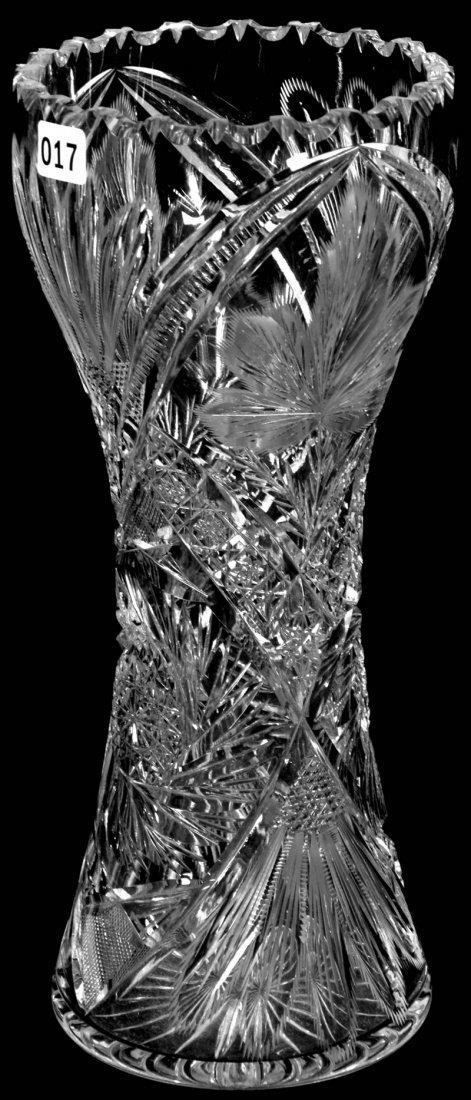 "12"" AMERICAN BRILLIANT CUT GLASS CORSET SHAPED VASE"