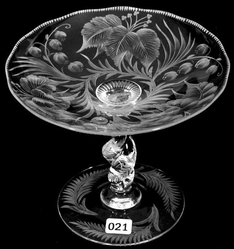 "6"" X 7"" SIGNED LIBBEY AMERICAN BRILLIANT CUT GLASS"