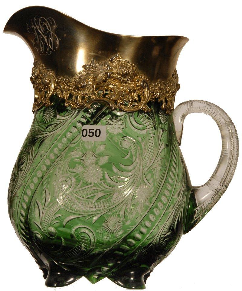 "FABULOUS 10"" CUT GLASS GREEN CUT TO CLEAR BULBOUS WATER"