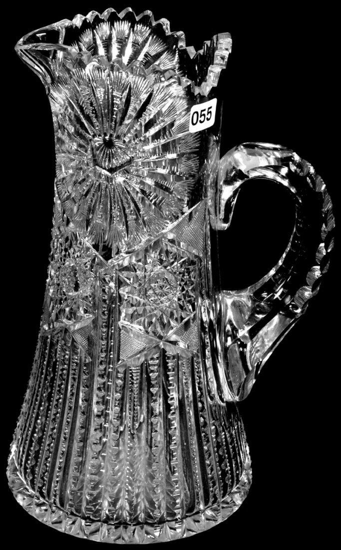 "11 1/2"" AMERICAN BRILLIANT CUT GLASS TALL PITCHER"