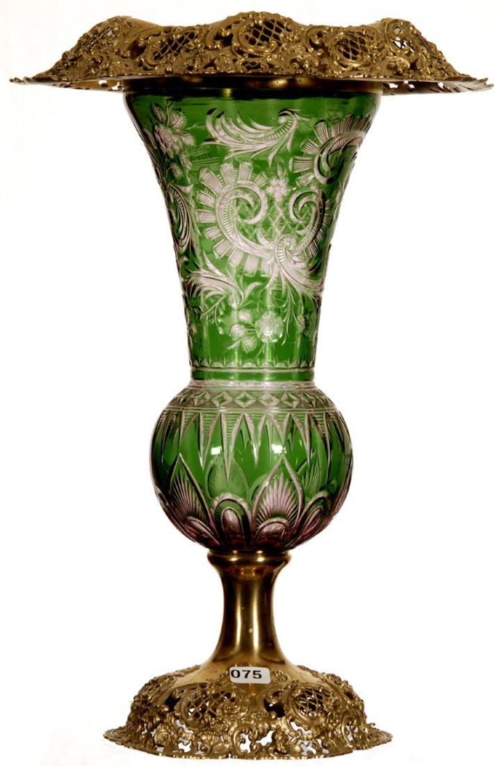 "ELABORATE 15 3/4"" TWO COLOR CUT TO CLEAR PEDESTAL VASE"