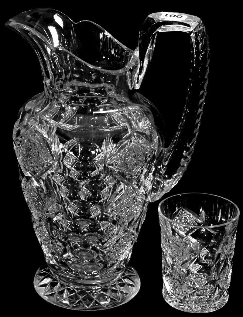 "11 1/4"" SIGNED HAWKES AMERICAN BRILLIANT CUT GLASS"