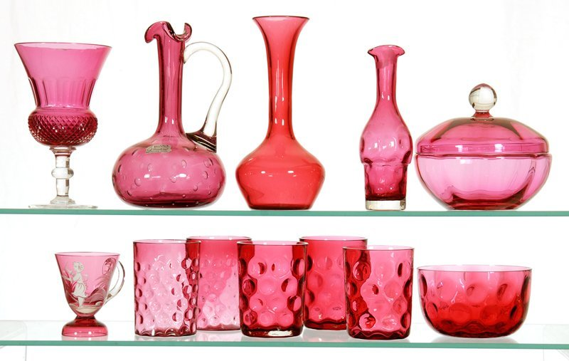 BOXED LOT - (12) CRANBERRY GLASS ITEMS