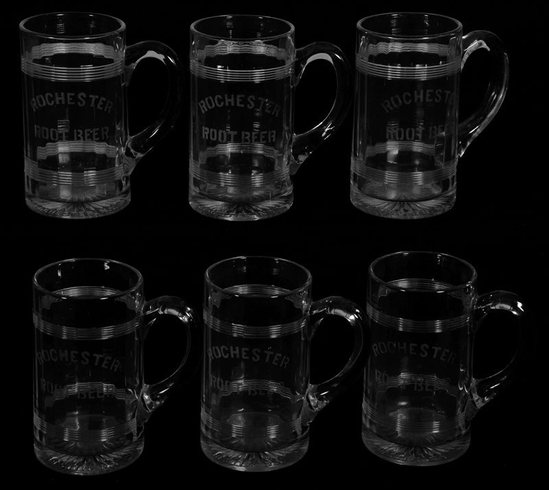 "(6) 6 1/4"" PATTERN GLASS ADVERTISING MUGS"