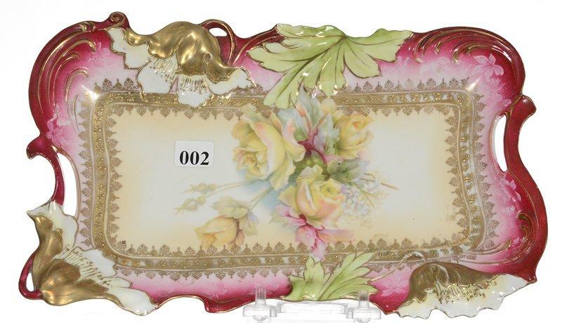 "11 1/2"" UNMARKED PRUSSIA POPPY MOLD DRESSER TRAY"