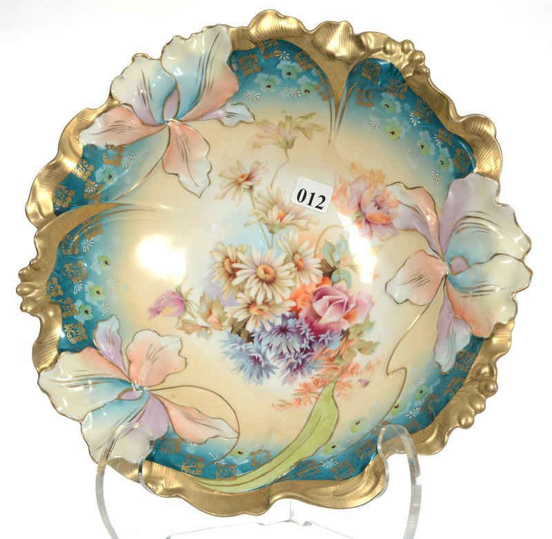 """10 1/4"""" UNMARKED PRUSSIA IRIS VARIATION MOLD BOWL"""