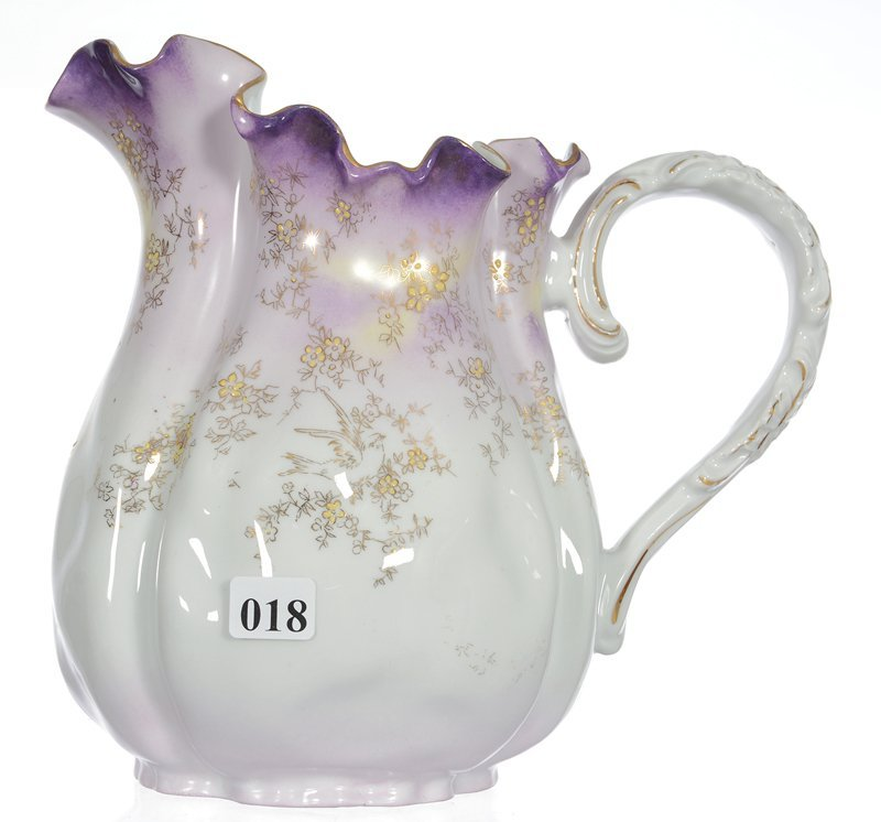 """8 1/2"""" UNMARKED PRUSSIA """"BAG"""" SHAPED HANDLED PITCHER"""