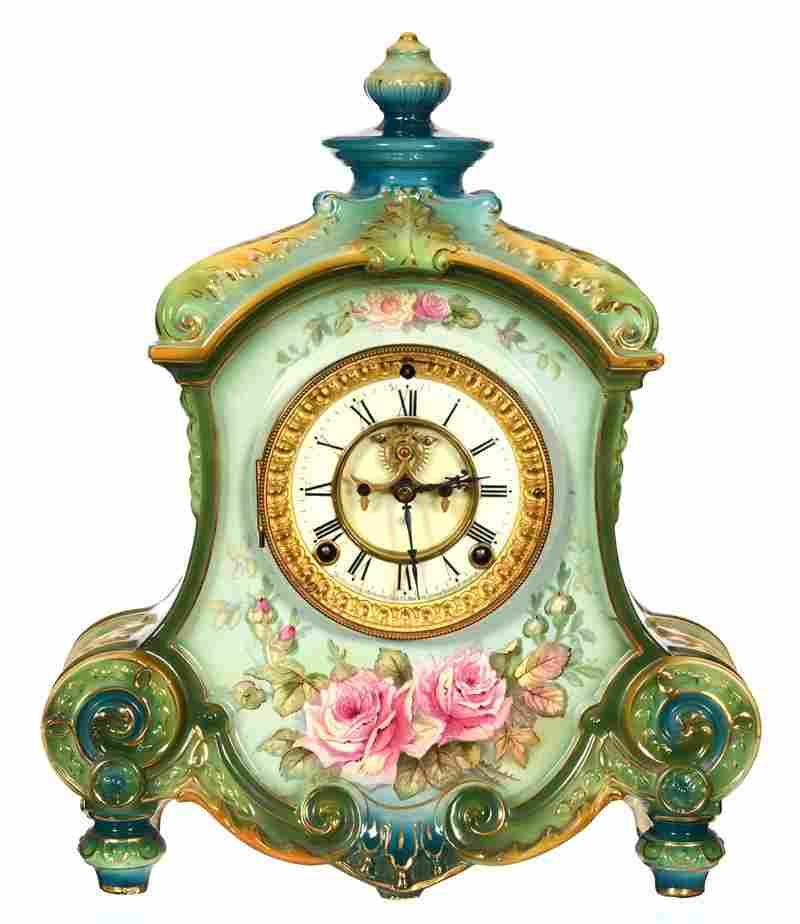 "15"" X 12 3/4"" MARKED ROYAL BONN PORCELAIN MANTEL CLOCK"