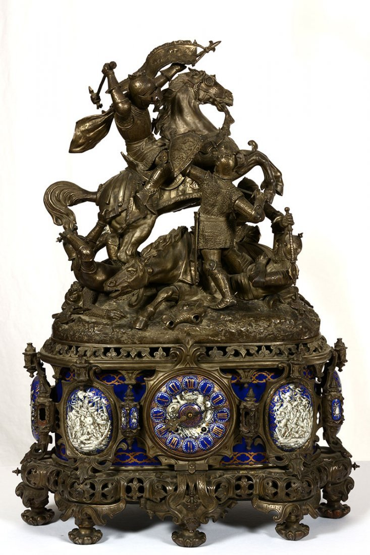 "38"" X 27"" MUSEUM QUALITY FRENCH STATUE CLOCK"