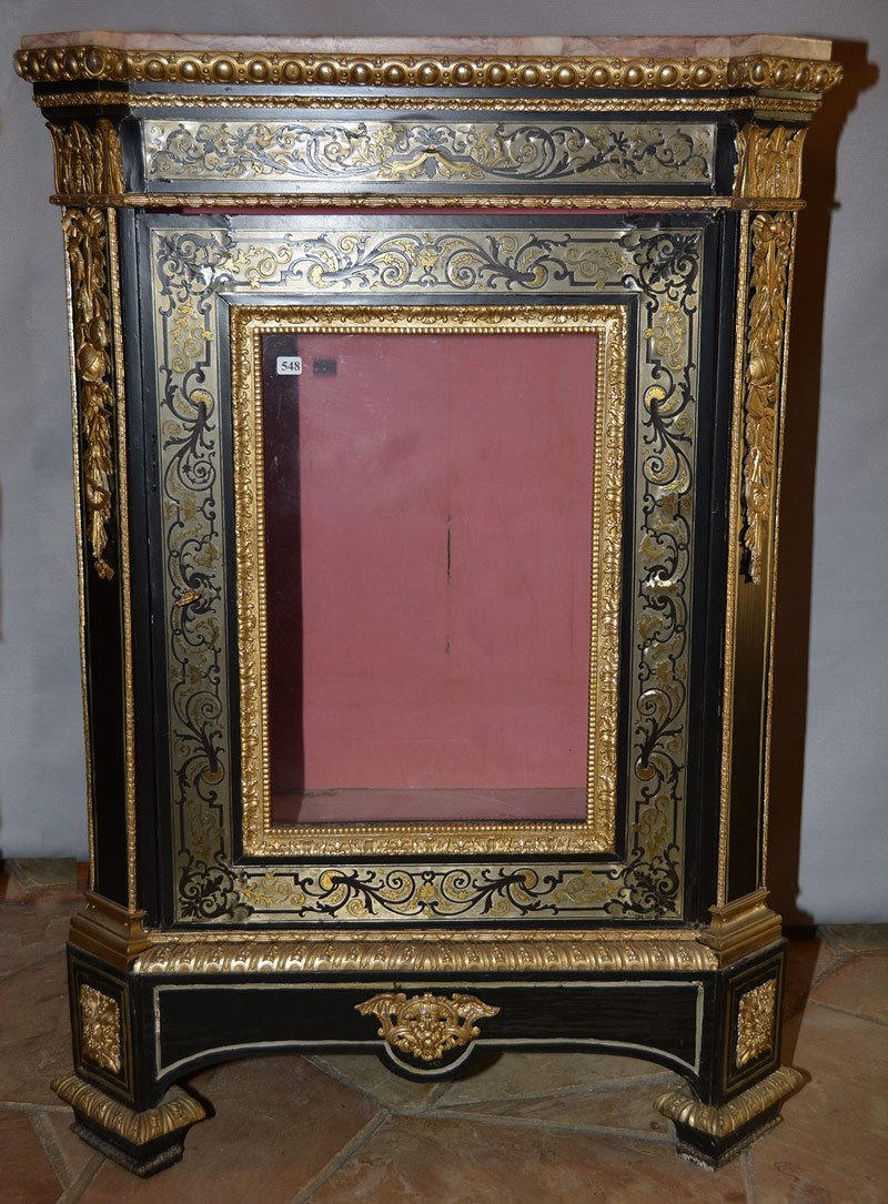 """42 1/2"""" X 29"""" X 18"""" EBONY MARBLE TOP LIGHTED CABINET"""