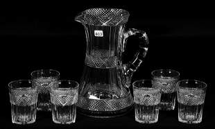 """WATER SET, 10 1/4"""" PITCHER AND (6) PATTERN MATCHED"""