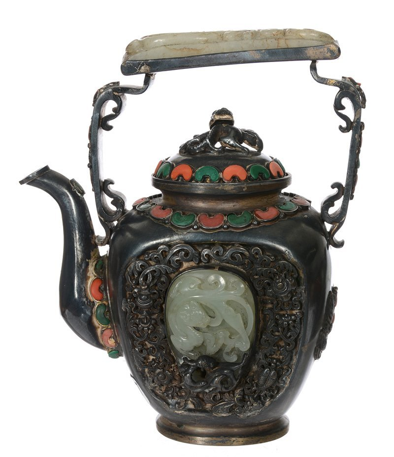 "8"" METAL TEAPOT WITH CORAL AND GREEN INSET HIGHLIGHTS"