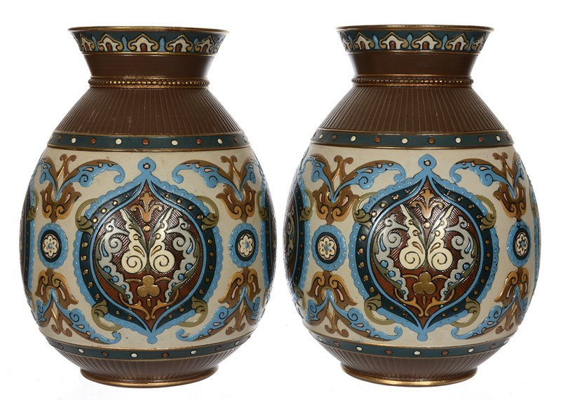 """(2) 9"""" SIGNED METTLACH #1829 BULBOUS VASES"""