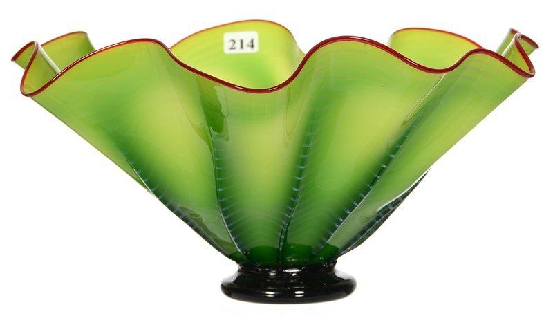 "CONTEMPORARY 6"" X 13"" RUFFLED ART GLASS BOWL"