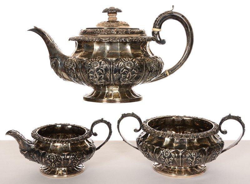 THREE PIECE SILVER TEA SERVICE, CIRCA 1820'S