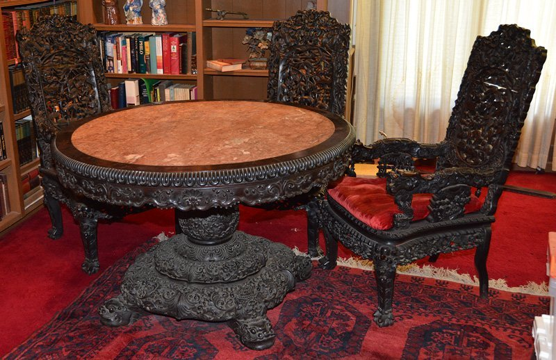 """31"""" X 49"""" ROUND ORIENTAL CARVED LIBRARY TABLE WITH (3)"""