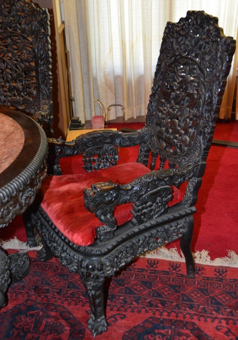 """31"""" X 49"""" ROUND ORIENTAL CARVED LIBRARY TABLE WITH (3) - 3"""